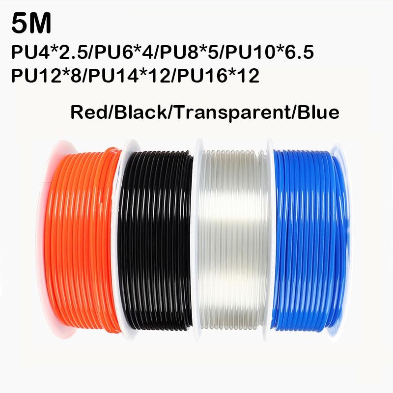 5 M pneumatische schlauch pu rohr 4*2,5mm 6*4mm 8*5mm 10*6,5mm 12*8 14*10mm 16*12mm air rohr kompressor schlauch