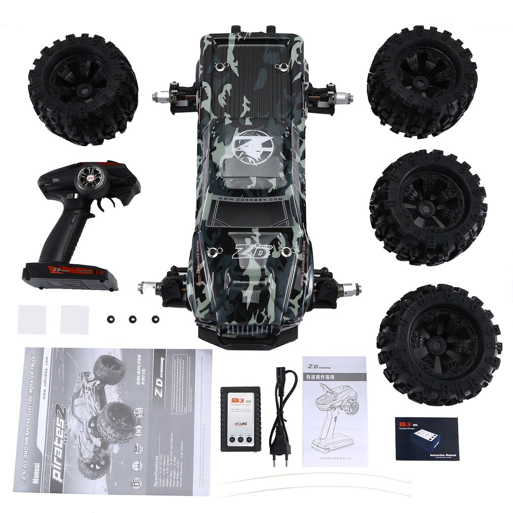 New ZD RACING MT8 Pirates3 1/8 2.4G 90km/h Electric Brushless RC Racing Car OFF-Road Model Big Foot Monster Truck RTR/Car Frame