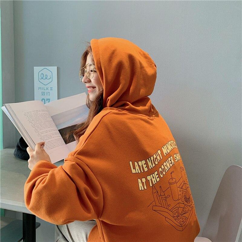 Image 3 - Hoodies Women 2020 Korean Style Loose Girls Thin Cartoon Printed Large Ulzzang Harajuku Womens Sweatshirts Chic Casual FashionHoodies & Sweatshirts   -