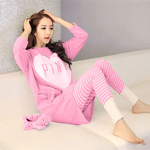 Day Spring Autumn-Outer Wear Pure Cotton Korean-style Simple Casual Cute Tracksuit Long Sleeve Trousers Pajamas Suit
