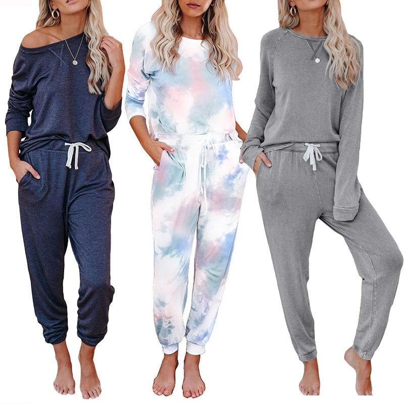 The New Tie-dye Two-piece Suit Nightclothes European And American Casual Home Clothing Pajamas Sleepwear Woman Pyjamas Homewear