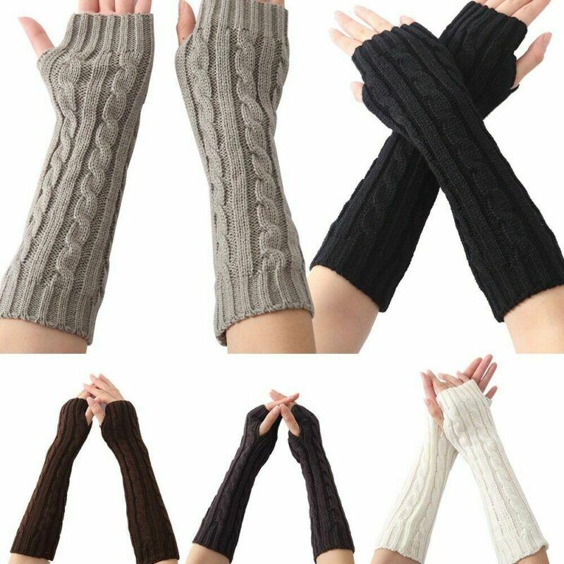 1 Pair Autumn Winter Women Knit Gloves Arm Wrist Sleeve Hand Warmer Girls Rhombus Long Half Winter Mittens Fingerless Gloves