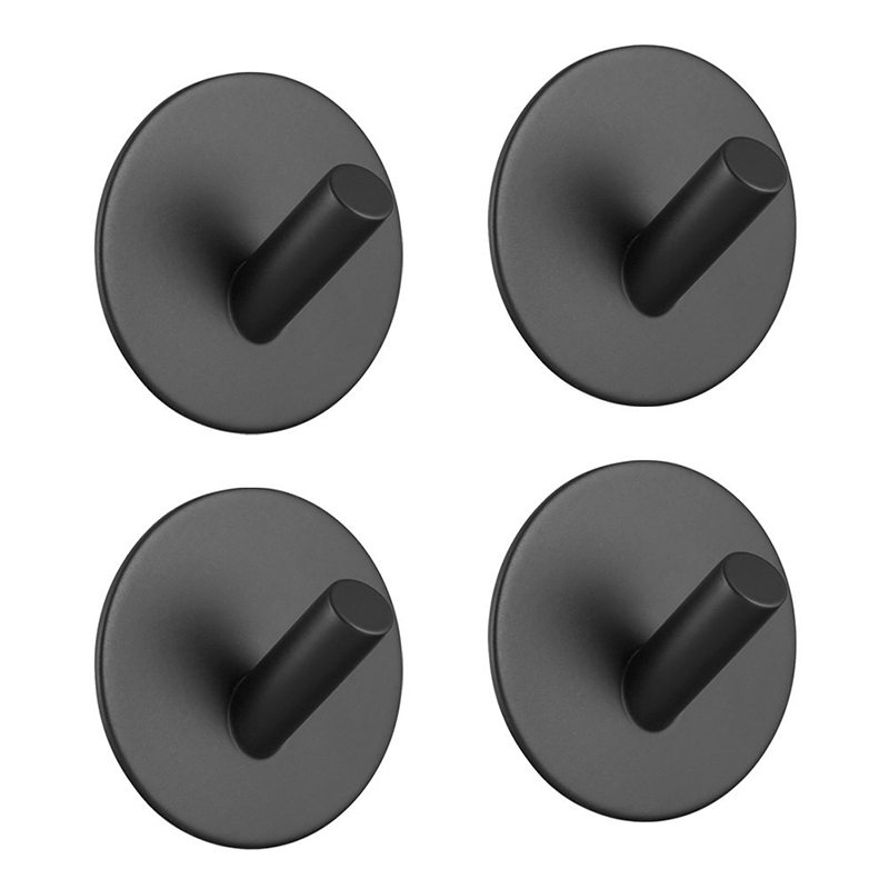 Self Adhesive Hooks Black Stainless Steel Towel Robe Coat Key Holder Hanger Heavy Duty Waterproof Kitchen Bathroom Accessories