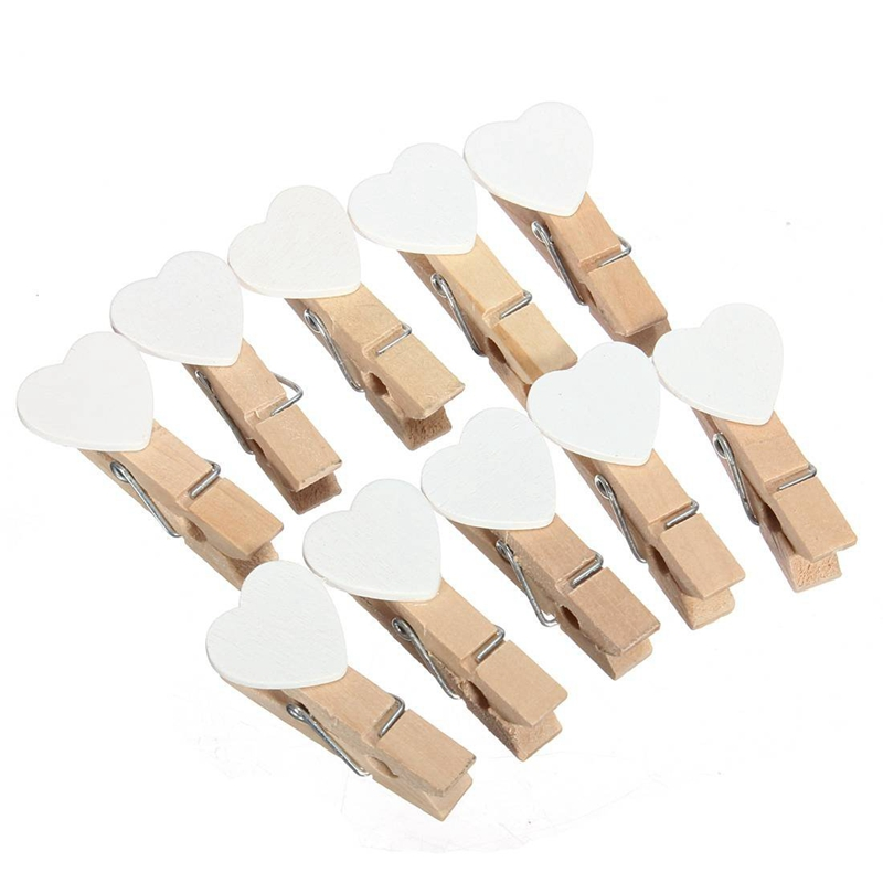50 Pcs 3.5cm Mini Heart Wooden Clothespin For Photo Paper Wooden House Decoration Entertainment Creative White