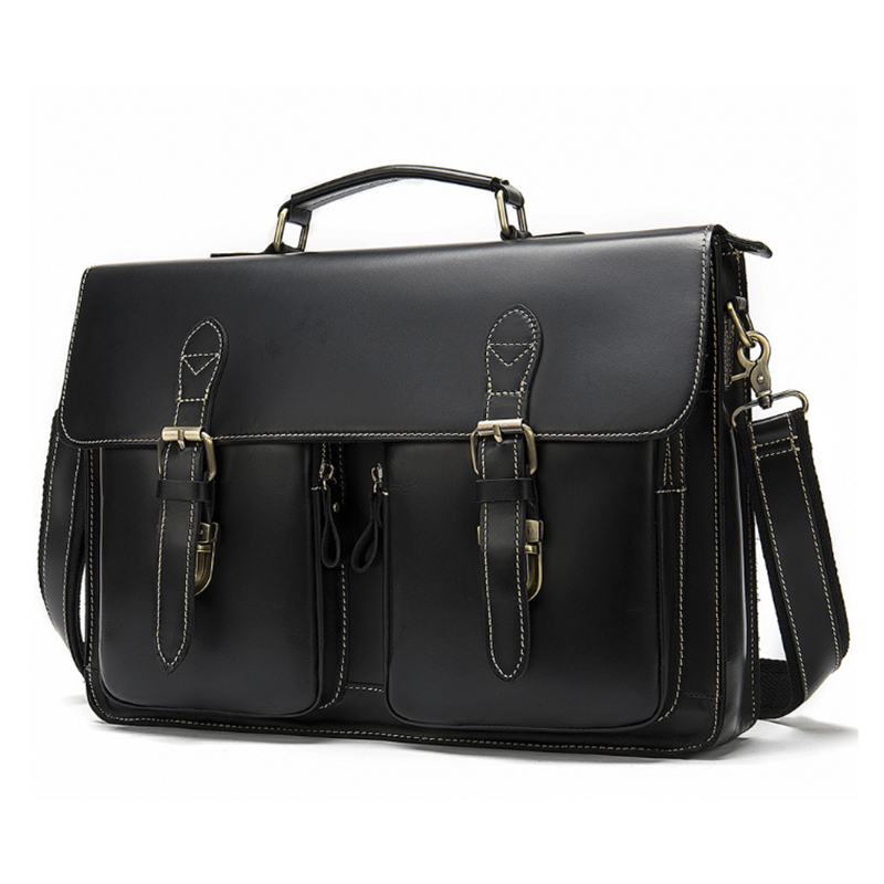 MAHEU Black Men Briefcase Laptop Business Handbags Classic Luxury Designer Computer Bag Daily Work Tote Bag For Male Men 15 Inch