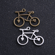 8 unids/lote 24*31mm dos colores aleación de Metal antiguo bicicleta dijes joyas pendientes encontrar