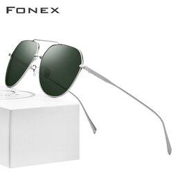 FONEX Reinem Titan Polarisierte Sonnenbrille Männer Marke Design Quadrat Sonne Gläser für Männer 2019 Neue Fahren Outdoor UV400 Shades 8506