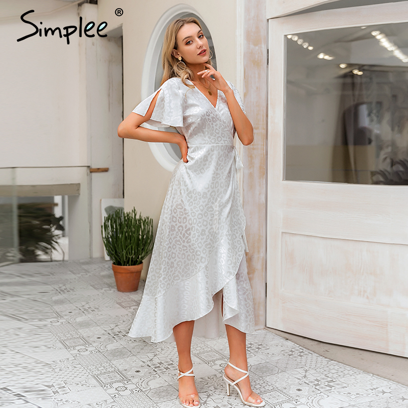 Simplee Lace Up Leopard Print Sexy Long Dress Summer V-neck Short Sleeve Dots Plus Size Dress Women Elegant Split Fashion Dress