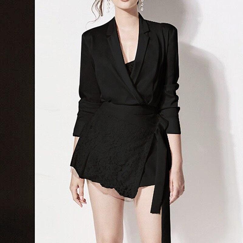 [EWQ] 2020 Spring Autumn New Pattern V-collar Long Sleeve Adjustable Waist Lace Patchwork Two Piece Dress Women 3AJ63901