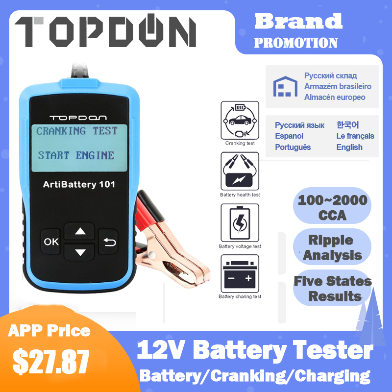 TOPDON AB101 Car Battery Tester 12V 100 to 2000CCA 12 Volts Battery Tester Tools for the Car Quick Cranking Charging Diagnostc
