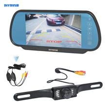 DIYKIT Wireless Parking System IR Night Vision CCD Rear View Car Camera With 7 inch Car Rear View Mirror Monitor liislee special rear view camera wireless receiver mirror monitor easy backup parking system for honda city mk5 2007 2013