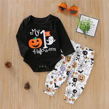 Get more info on the 2019 Fashion Halloween Clothes Newborn Infant Baby Girl Boy Pumpkin Romper Tops Pants Outfits Set