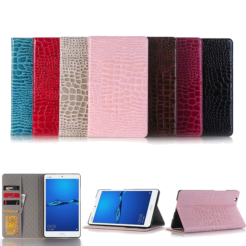Luxury Crocodile Coque for Huawei MediaPad M3 8.4 BTV-W09 BTV-DL09 Case PU Leather Card Slot Funda For Huawei M3 8.4 Flip Cover image