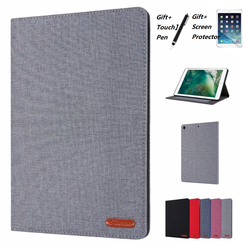 For Samsung Galaxy Tab S6 10.5 T860 Tab A 10.1 2019 SM T510 S5E 10.5 T720 Solid Color Cloth Pattern PU Leather Full Body Case image