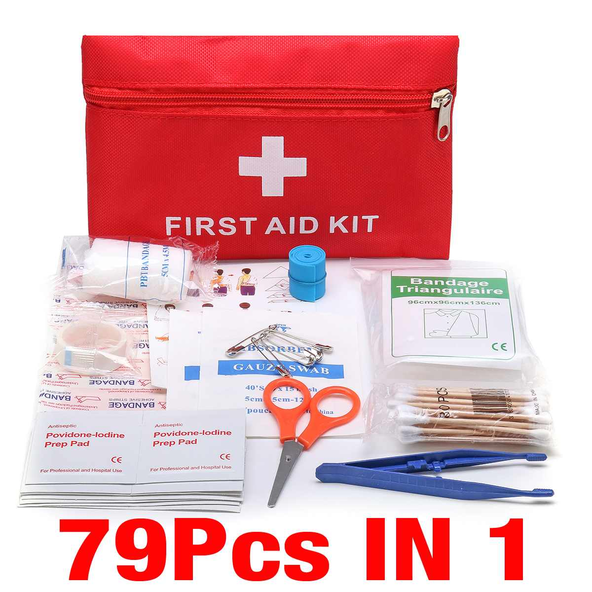 Survival 79pcs Mini Safe Camping Hiking Car First Aid Bag Kit Medical Emergency Kit Treatment Pack Outdoor Wilderness