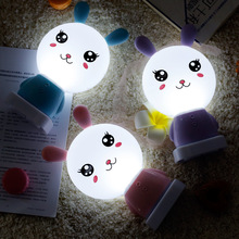 Cartoon LED rabbit night light usb charging mini portable creative cartoon led student bedroom desk dormitory bedside nightlight