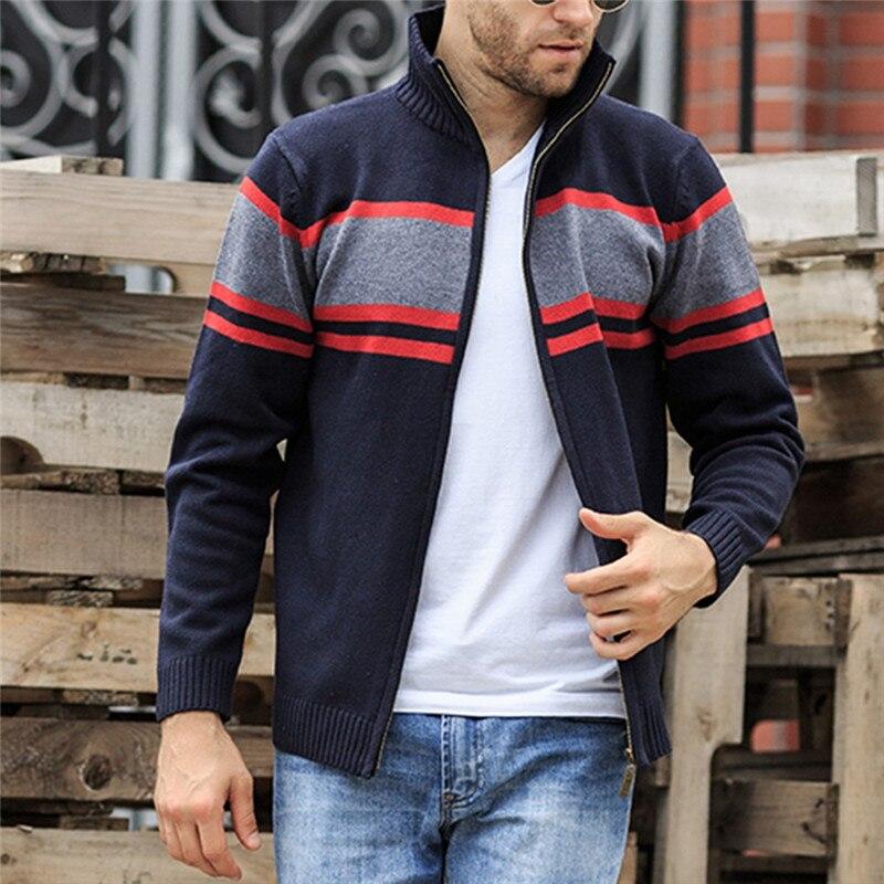 Solid Zipper Sweater Coat for Men Zipper Spring Winter Beige Coat Men Casual Long Sleeve Sweatshirts Male Jackets #2g15 (17)