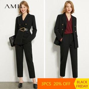 AMII Minimalism Summer Autumn Suit Set Lapel Double Breasted Suit Coat Solid Vest High Waist Straight Female Pants 12040939