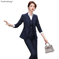 High Quality 3 Piece Set Women Office Lady Formal Business Work Pant Suit Gray Black Stripe Blazer Vest and Trous for Interview