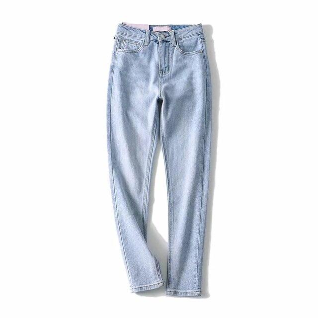 Фото женские джинсовые штаны повседневное брюки джинсы высокая талия