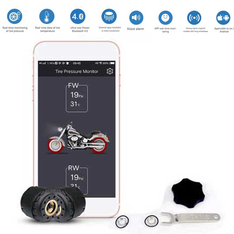 GIORDON Motorcycle TPMS Wireless Tire Pressure Monitoring System Mobile Phone APP Bluetooth Android 2 External Sensors