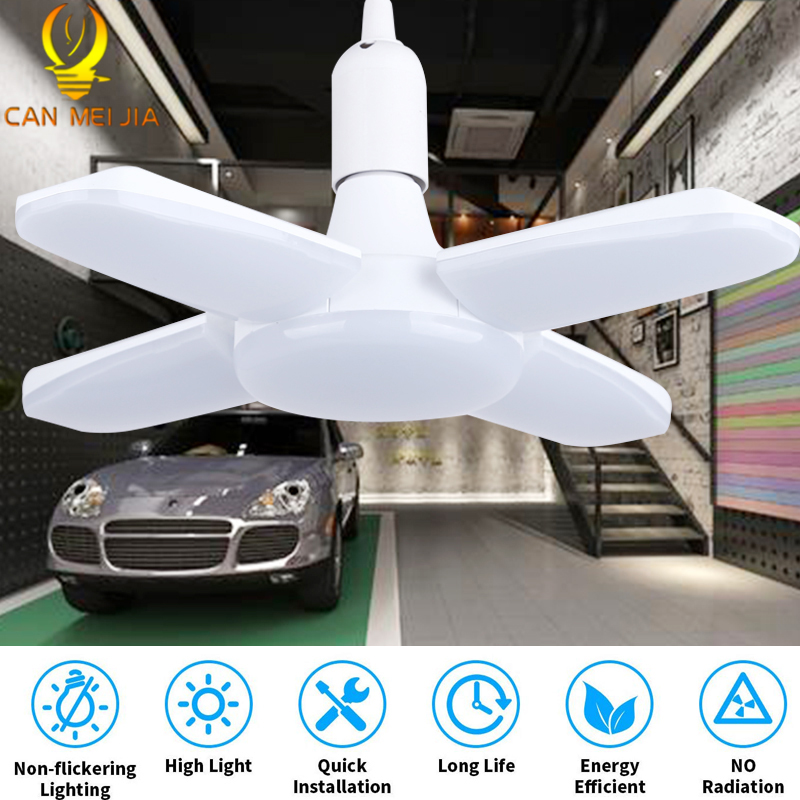 Super Bright E27 Led Garage Light 30W 45W 60W Fan Blade Lamp 220V LED High Bay Industrial Lamp For Workshop Industrial Lighting