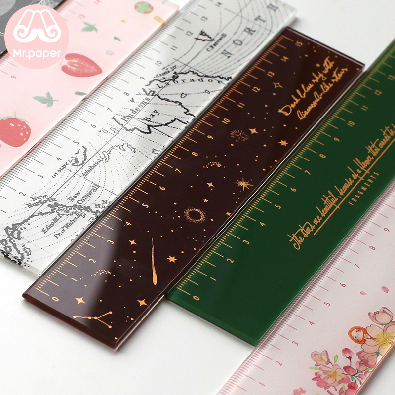 Mr paper 6 Designs 15cm Strawber Acrylic Color Ruler Multifunction DIY Drawing Rulers For Kids Students Office School Stationery 2