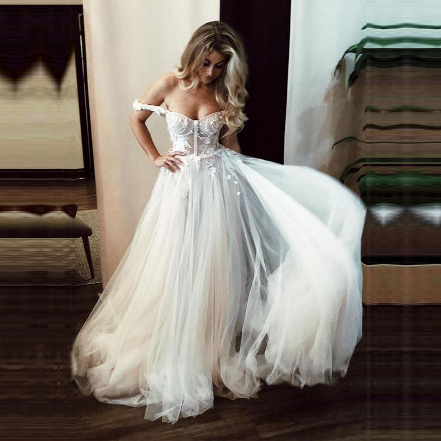 A Line Sexy Sweetheart Wedding Dresses 2020 Lace Appliques Off Shoulder Sleeveless Tulle Wedding Gowns Formal Bride Dress