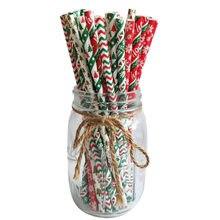 25 pçs canudos de natal feliz natal canudos bebendo papel biodegradável canudos ornamentos de natal 2020 decoração natal