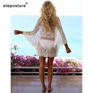 Image 3 - 2019 Sexy Mesh Strand Cover Up Spitze Strand Kleid Frauen Bikini Badeanzug Abdeckung Up Langarm Strand Tuniken Bade anzüge Abdeckung Ups