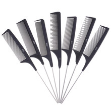 Trimmer Brushes Metal Pin Tail Antistatic Comb 1Pc Black Hard Carbon Cutting Comb Heat Resistant Salon Hair(China)