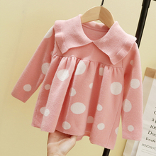 Baby Girl Winter Clothes 2019 Sweater Long Sleeve Lapel Polka Dot Doll Clothing