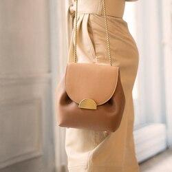 ValenKuci Women Leather Bag Retro Lady Bags France Famous Brand Crossbody Bag Elegant Luxury Designer Bucket Bags Chain Handbags