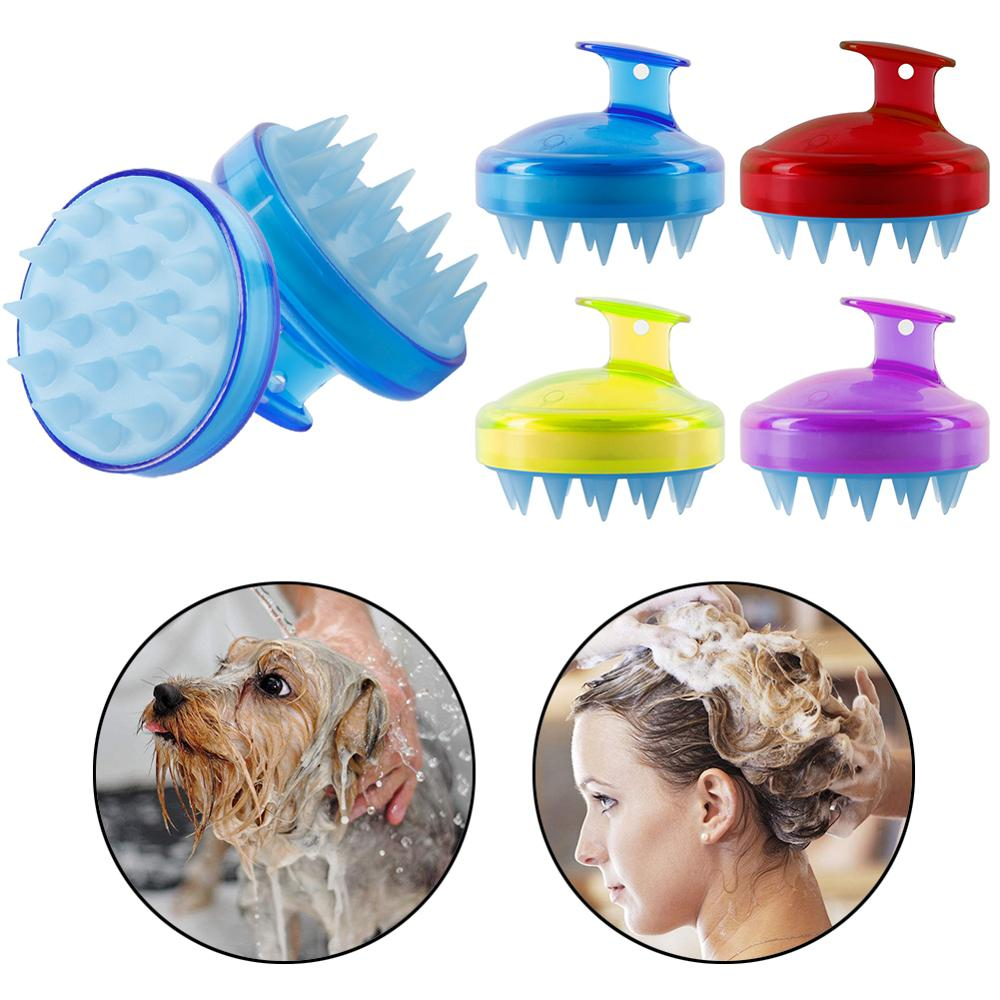 Shampoo Massage Brush Handheld Silicone Scalp Brush Washing Shower Hair Comb Mini Head Meridian Massage Comb 4 Colors