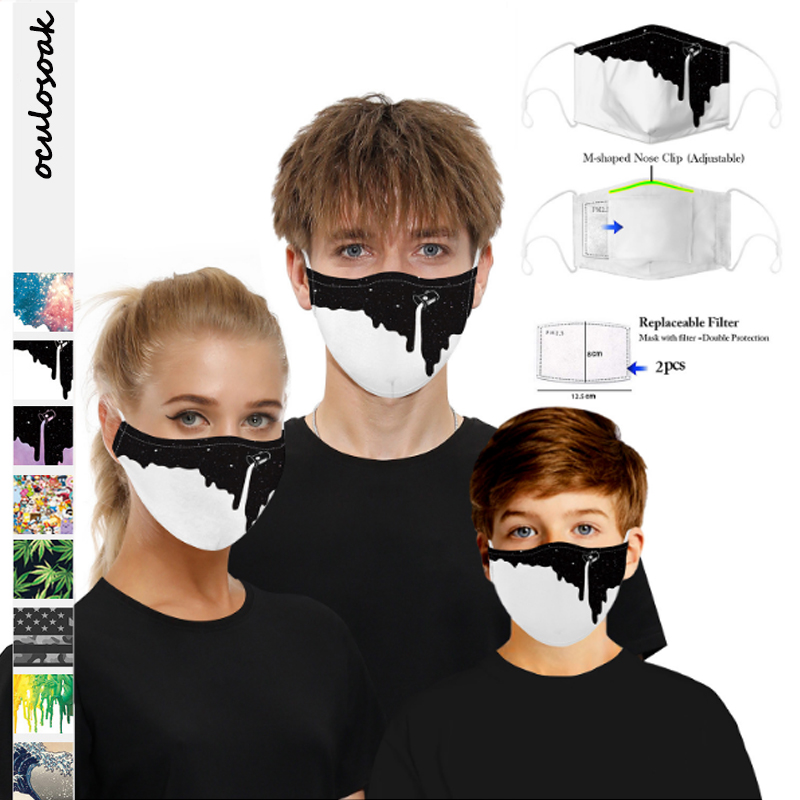 New 3D Digital Printing Dust-proof And Washable Breathable Children Adult Hood With Filter Chip