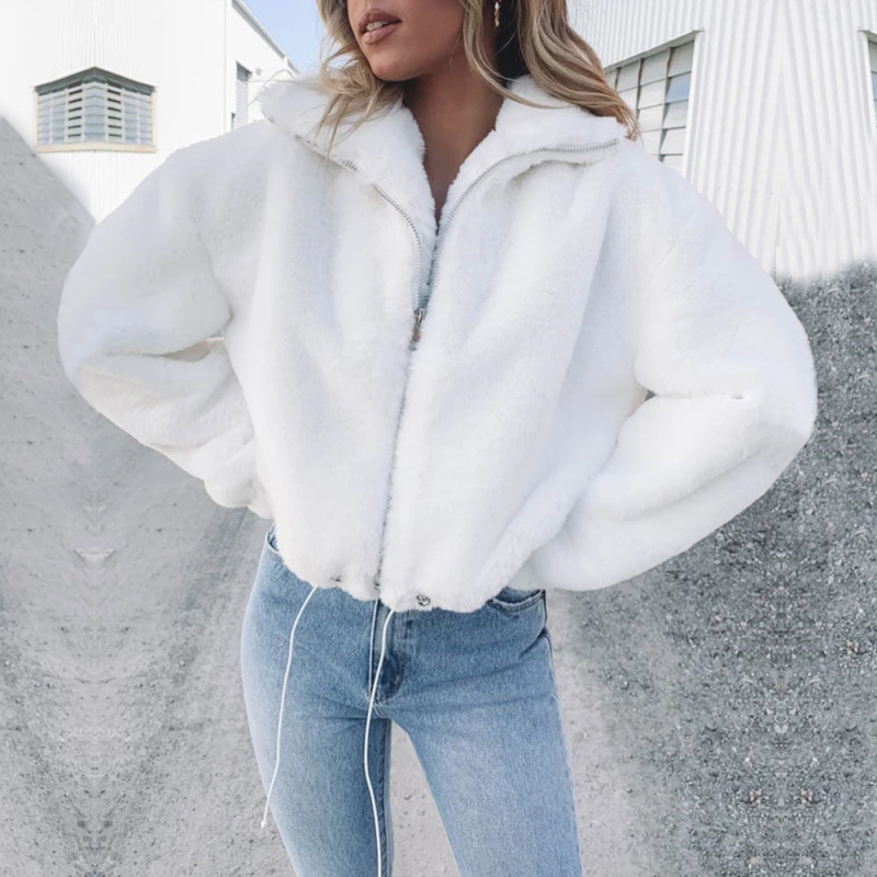 White Faux Angora Rabbit Wool Bomber Jacket Women Winter Warm Coat