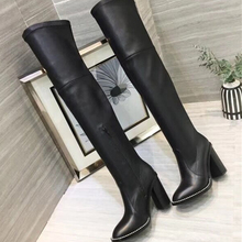 Genuine Leather Black Women Loong Boots Fashion Rivets Chunky High Heels Strch Over The Knee Boots Women Suede Winter Boots 41 sweet fringe rivets long boots for women genuine leather sexy pointed toe chunky heels knee high boots black tassel shoes women