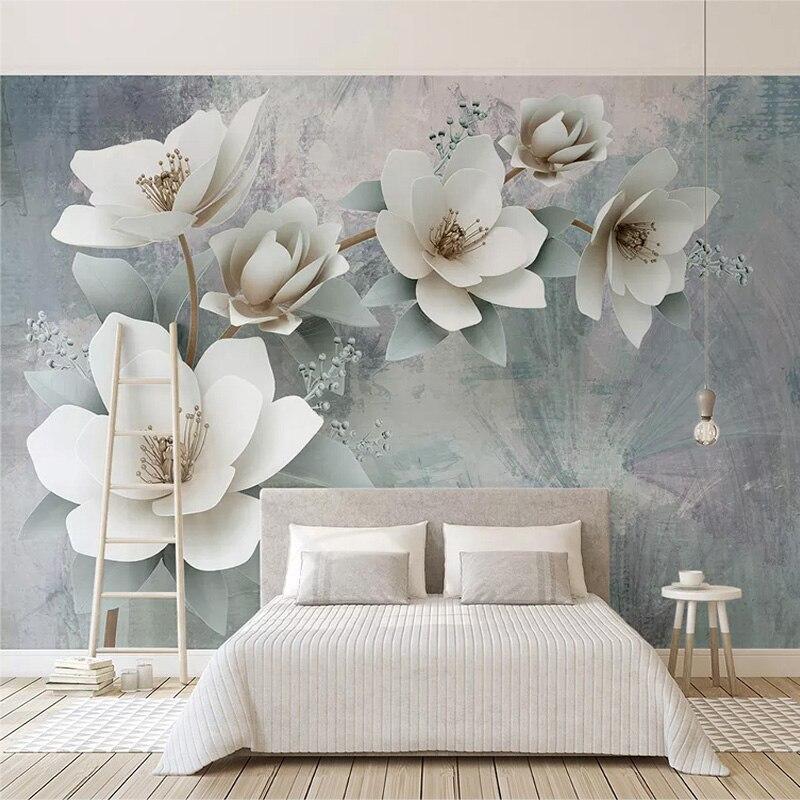 Фотообои 3D, модные цветы, настенная живопись в европейском стиле, ретро, романтичная гостиная, спальня, настенная живопись 3 D