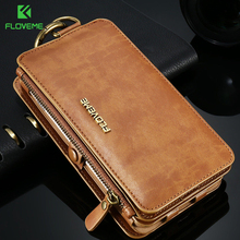 FLOVEME Leather Wallet Case For iPhone 12/12 Pro Max/12 Mini 11/11 Pro XR X XS Max 8 7 6 6S Plus 5S Case Retro Protective Cover