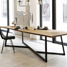 Office Furniture Dining-Table Industrial-Loft Workbench Conference Solid-Wood Iron Creative