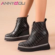 ANNYMOLI Fall Ankle Boots Women Sheepskin Zip Platform Wedges Heel Short Boots Real Leather Super High Heel Shoes Female Winter