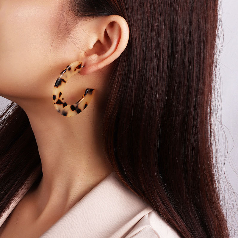 New Trendy Earrings For Women Autumn Joker Round Notched C Shaped Fancy Colorful Drop Female