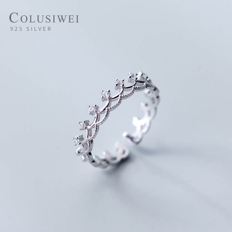 Colusiwei Elegant Princess Crown Finger Rings For Girl Christmas Day Gifts For Women 925 Sterling Silver Jewelry Accessories