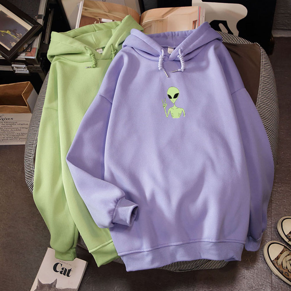 Kawaii Harajuku Funny Alien Print Oversized Hoodies Sweatshirt Autumn Winter Women Kawaii Loose Long Sleeves Tops Plus Size 4XL