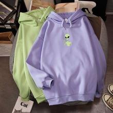 Kawaii Harajuku Funny Alien Print Oversized Hoodies Sweatshirt