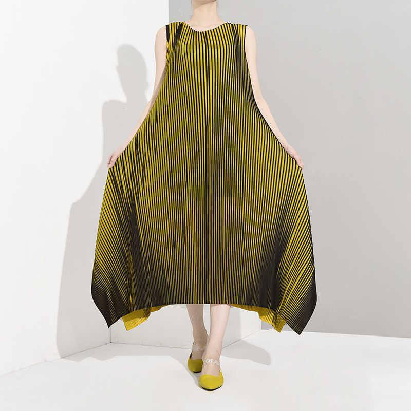 LANMREM 2019 Новое модное женское платье женские толстовки Vestido осенние и Летние Плиссированные Платья без рукавов vintegae WH24407