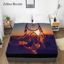 Sábana ajustada 3D, Sábana de cama con elástico doble/completo/reina/rey/personalizado, funda de colchón 150*200/180/160x200, atrapasueños de cama al atardecer
