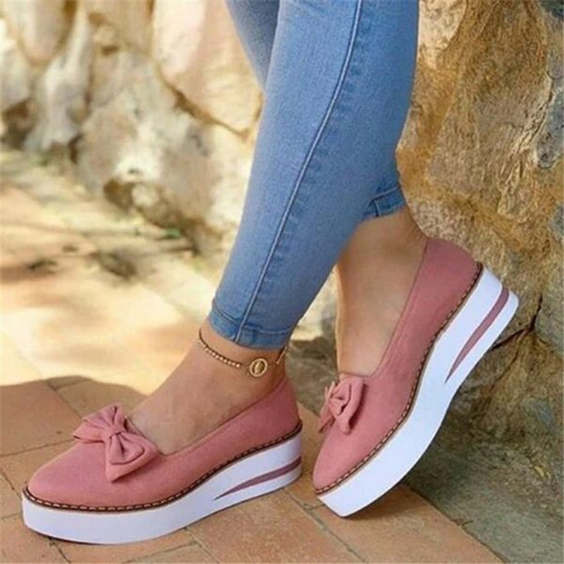 Women Vulcanize Sneaker Flock Platform Heel Thick Sole Flat Butterfly Knot Round Toe Casual Fashion Ladies Shoes Tenis Feminino