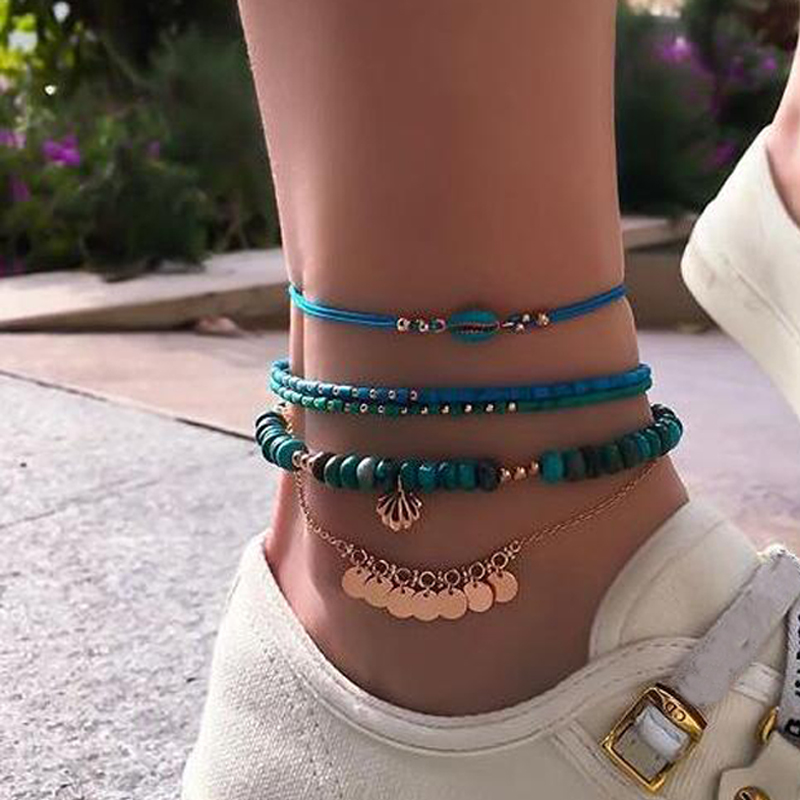 docona 4pcs Boho Shell Beaded Anklet Set for Women Multilayer Adjustable Sequin Pendant Foot Chains Beach Jewelry Tobillera 8792