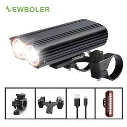 Newboler 5200 MAh Lampu Sepeda Lampu Sepeda Pemegang Mount USB Isi Ulang MTB Sepeda Senter Bersepeda Lentera untuk Lampu Sepeda